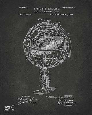 Chart Digital Art - 1885 Terrestro Sidereal Sphere Patent Artwork - Gray by Nikki Marie Smith
