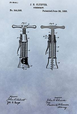 Tasting Mixed Media - 1886 Corkscrew Patent by Dan Sproul