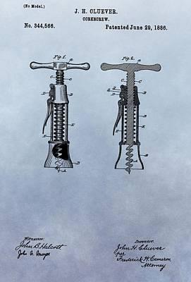1886 Corkscrew Patent Print by Dan Sproul