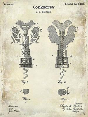 Napa Photograph - 1886 Corkscrew Patent Drawing by Jon Neidert
