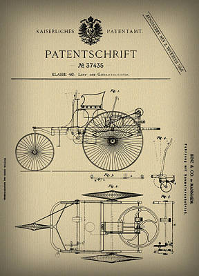 Car Photograph - 1886 Mercedes Benz Patent by Digital Reproductions