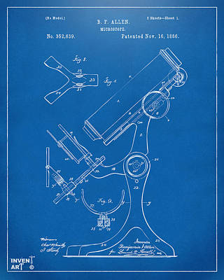 Lab Digital Art - 1886 Microscope Patent Artwork - Blueprint by Nikki Marie Smith