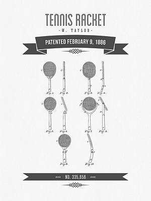 Tennis Mixed Media - 1886 Tennis Racket Patent Drawing - Retro Gray by Aged Pixel