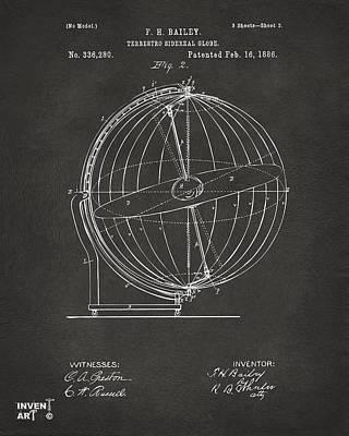 Constellation Digital Art - 1886 Terrestro Sidereal Globe Patent 2 Artwork - Gray by Nikki Marie Smith