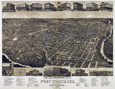 1886 Vintage Map Of Fort Worth Print by Stephen Stookey