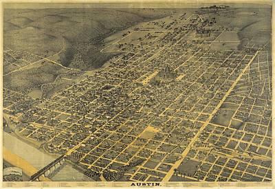 Austin Mixed Media - 1887 Austin Texas Map by Dan Sproul