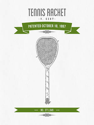 Tennis Mixed Media - 1887 Tennis Racket Patent Drawing - Retro Green by Aged Pixel