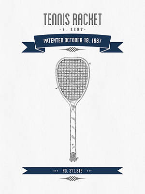 Tennis Mixed Media - 1887 Tennis Racket Patent Drawing - Retro Navy Blue by Aged Pixel