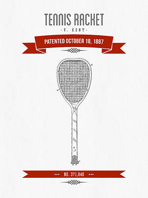Tennis Mixed Media - 1887 Tennis Racket Patent Drawing - Retro Red by Aged Pixel