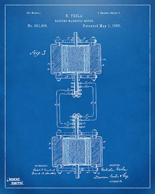 1888 Tesla Electro Magnetic Motor Patent - Blueprint Print by Nikki Marie Smith