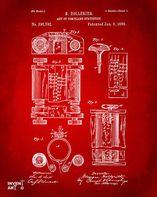 Punch Digital Art - 1889 First Computer Patent Red by Nikki Marie Smith