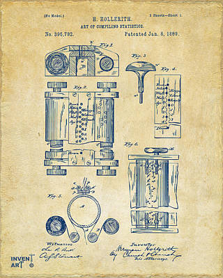Data Drawing - 1889 First Computer Patent Vintage by Nikki Marie Smith