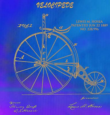 Bicycle Mixed Media - 1889 Velocipede Patent by Dan Sproul