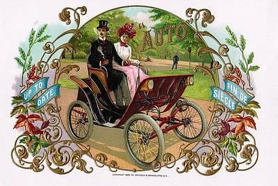 Park Scene Mixed Media - 1890 Auto Vintage Art by Maciej Froncisz