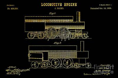 1890 Baird Locomotive Engine Patent Art 1 Print by Nishanth Gopinathan