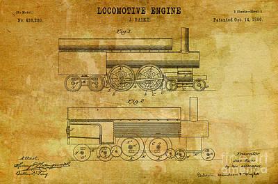 1890 Baird Locomotive Engine Patent Art 2 Print by Nishanth Gopinathan