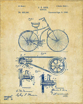 Bikes Drawing - 1890 Bicycle Patent Artwork - Vintage by Nikki Marie Smith