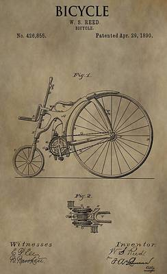 Bicycle Drawing - 1890 Bicycle Patent by Dan Sproul