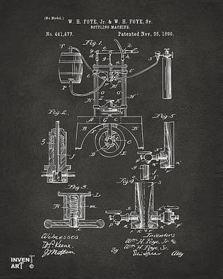 Monocromatic Drawing - 1890 Bottling Machine Patent Artwork Gray by Nikki Marie Smith