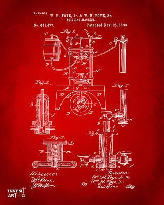 1890 Bottling Machine Patent Artwork Red Print by Nikki Marie Smith
