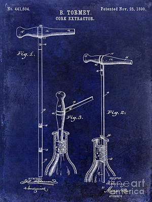 Napa Valley Photograph - 1890 Cork Extractor Patent Drawing Blue by Jon Neidert