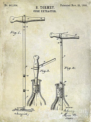 Napa Valley Photograph - 1890 Cork Extractor Patent Drawing by Jon Neidert