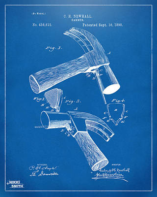 Hammer Drawing - 1890 Hammer Patent Artwork - Blueprint by Nikki Marie Smith