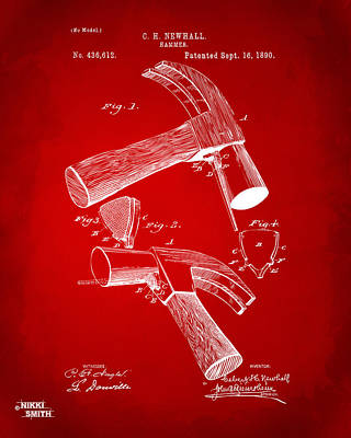 Hammer Drawing - 1890 Hammer Patent Artwork - Red by Nikki Marie Smith
