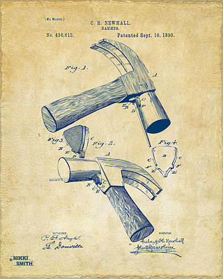 Hammer Drawing - 1890 Hammer Patent Artwork - Vintage by Nikki Marie Smith