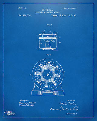 1890 Tesla Motor Patent - Blueprint Print by Nikki Marie Smith