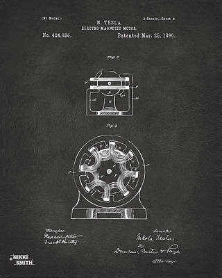 1890 Tesla Motor Patent - Gray Print by Nikki Marie Smith