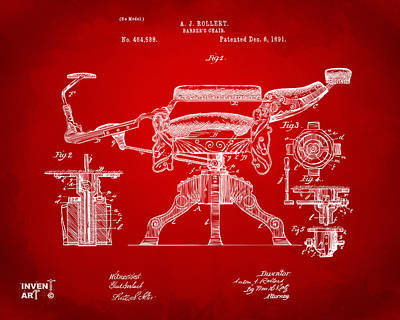 Vintage Chair Digital Art - 1891 Barber's Chair Patent Artwork Red by Nikki Marie Smith