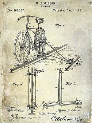 Bicycle Drawing - 1891 Bicycle Patent Drawing by Jon Neidert
