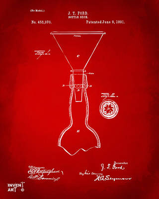Drawing - 1891 Bottle Neck Patent Artwork Red by Nikki Marie Smith