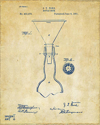 Drawing - 1891 Bottle Neck Patent Artwork Vintage by Nikki Marie Smith