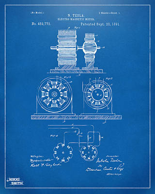 1891 Tesla Electro Magnetic Motor Patent - Blueprint Print by Nikki Marie Smith