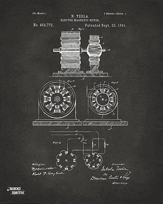 1891 Tesla Electro Magnetic Motor Patent - Gray Print by Nikki Marie Smith