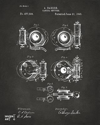 1892 Barker Camera Shutter Patent Gray Print by Nikki Marie Smith