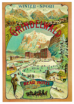 Ruins Mixed Media - 1893 Grindelwald Vintage Travel Art by Presented By American Classic Art