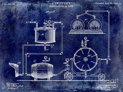 Budweiser Photograph - 1893 Manufacture Of Beer Patent Drawing Blue by Jon Neidert