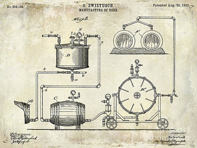 Budweiser Photograph - 1893 Manufacture Of Beer Patent Drawing by Jon Neidert