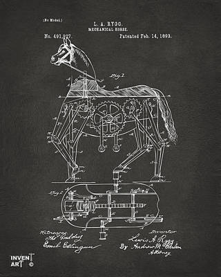 Black And White Horses Digital Art - 1893 Mechanical Horse Toy Patent Artwork Gray by Nikki Marie Smith