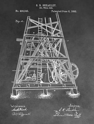 Crisis Mixed Media - 1893 Oil Rig Patent by Dan Sproul