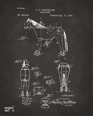 Black And White Horses Digital Art - 1893 Velocipede Horse-bike Patent Artwork Gray by Nikki Marie Smith