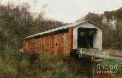Covered Bridge Painting - 1894 Hills Covered Bridge Marrietta Ohio by Scott B Bennett
