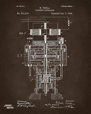 Farmer Digital Art - 1894 Tesla Electric Generator Patent Espresso by Nikki Marie Smith