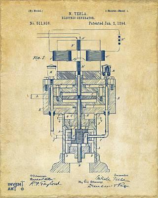 Farmer Digital Art - 1894 Tesla Electric Generator Patent Vintage by Nikki Marie Smith