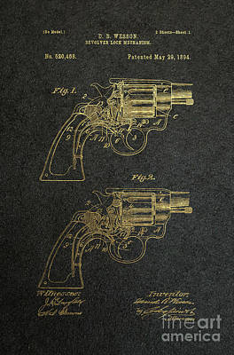 1894 Wesson Revolver Lock Mechanism Patent Art 2 Print by Nishanth Gopinathan