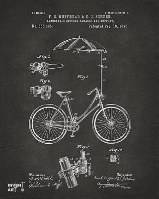 Umbrellas Digital Art - 1896 Bicycle Parasol Patent Artwork Gray by Nikki Marie Smith