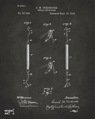 Monocromatic Drawing - 1896 Dental Excavator Patent Gray by Nikki Marie Smith